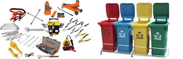 herramientas taller de mecanico y contenedores de residuos