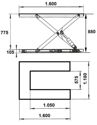 Mesa extraplana en U de 1500 kg
