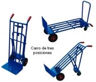 Carro para 3 posiciones con rueda de goma