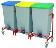 Carros para basura  selectiva con 3 cubos