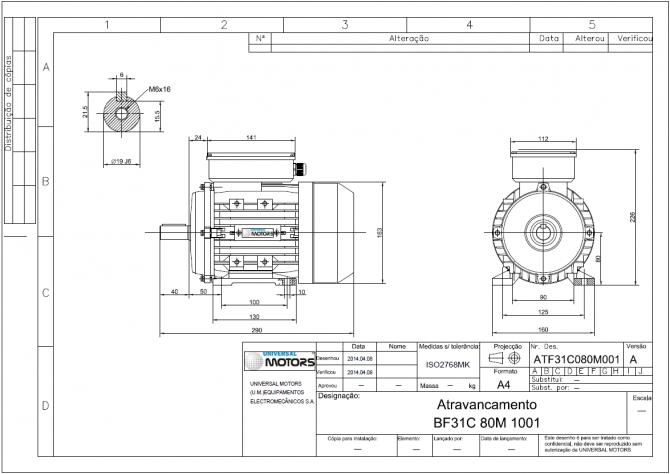 Motor electrico trifasico 0,5kv