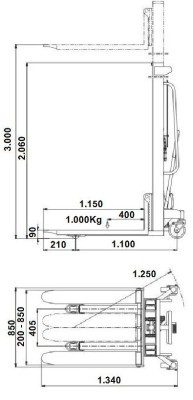 Apilador  Manual  Hidráulico 3 Metros