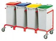 Carro de residuos con 4 cubos